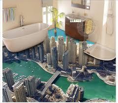 3d bathroom flooring 3d wallpaper custom mural pvc wallpaper high rise buildings 3d