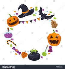 cartoon halloween picture vector wreath icons halloween cartoon style stock vector 487218691