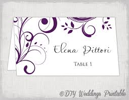 wedding place cards template place card template eggplant scroll name cards diy wedding place