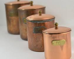 copper kitchen canister sets vintage canister set etsy