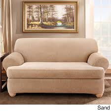 Sofa Slipcover 3 Cushion Sofas Awesome Sure Fit Stretch Stripe Separate Seat T Cushion
