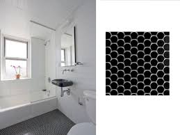 black and white tile floor bathroom and penny wise round tile