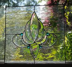 stunning clear stained glass panel water glass victorian large