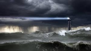 Lighthouse Light Ocean Storm Waves Sky Clouds Rain Rain Lighthouse Light Light