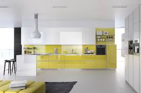 Yellow Cabinets Kitchen White Brick Wall Panel White Cabinet Wooden Cabinet Oven Modern