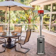 7 ft steel umbrella propane patio heater in stainless steel