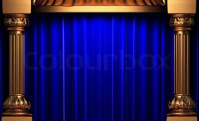 Blue Velvet Curtains Blue Velvet Curtains The Gold Columns Made In 3d Stock