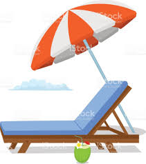 Lounge Chair Umbrella Summer Time Beach Umbrella Lounge Sun Chair Scene Isolated Stock