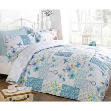 Blue Bed Set Butterfly Floral Patchwork Duvet Cover Reversible White Teal
