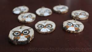 painted owl key chains made from wood slice welcome to the
