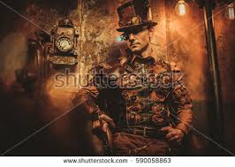 steampunk style man various mechanical devices stock photo