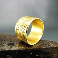 solid gold band wide wedding band 18k yellow solid gold band cigar band