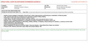 resume format exles for steel fabrication metal fabricating shop helper cv work experience sles