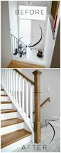 How To Cut Stair Trim Molding by How To Install A Wooden Handrail On Split Level Stairs Lemon Thistle