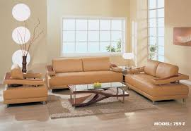 Camel Color Leather Sofa Contemporary Living Room Furniture In Camel Color Contemporary