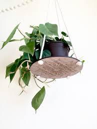 mandala plant hanger walnut copper boho chic engraved