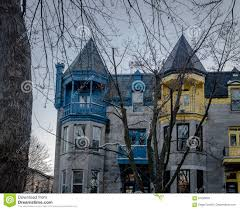 colorful victorian houses in square saint louis montreal quebec