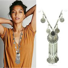 coin pendant necklace jewelry images Bohemian vintage coin long pendant necklace silver chain gypsy jpg