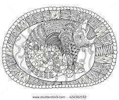 detail patterned cat zen tangle stock vector 442805455
