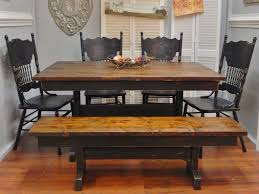charming handcrafted trestle farm table black with stained top