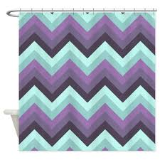Paris Fabric Shower Curtain by Amazon Com Cafepress Purple And Mint Green Chevrons Shower