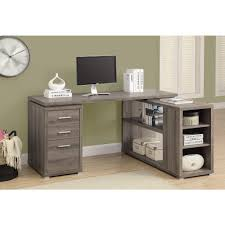 Reclaimed Office Furniture by Monarch 2 In 1 Piece Dark Taupe Office Suite I 7319 The Home Depot