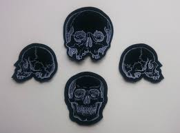 Halloween Skeleton Cut Out by Skull Patch Set Of 4 Woven Cut Out Fabric Patches Occult Punk