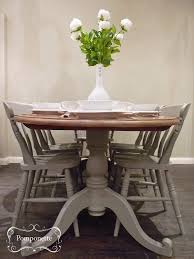oval dining table and six chairs pedestal detail anniesloanhome