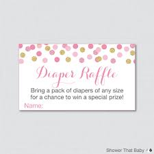 pink and gold baby shower diaper raffle ticket cards and diaper