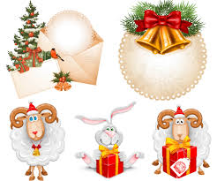 christmas sheep with gift vector vectorpicfree