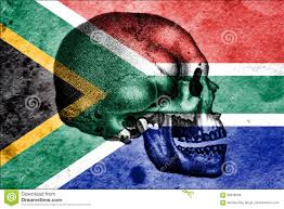 Image Of South African Flag Skull And South African Flag Signifying The Cradle Of Humankind