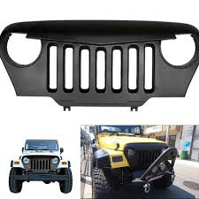 jeep wrangler front grill chuang qian matte black angry bird overlay front grill grille for