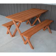 a u0026 l furniture yellow pine cross legged picnic table with 2