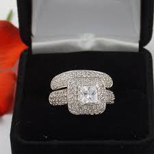 wedding rings in box silver princess cut wedding engagement ring free ring box ebay