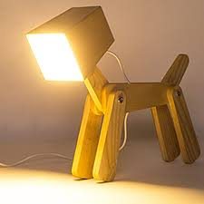 hroome cute wooden dog design adjustable dimmable bedside table