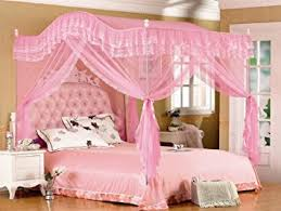 amazon com pink arched four corner square princess bed canopy