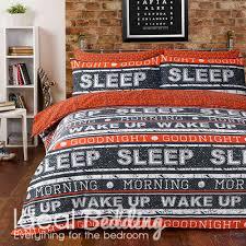 retro text orange duvet quilt bedding cover and pillowcase bedding