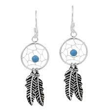 cool dangle earrings dreamcatcher feather turquoise bead sterling silver dangle