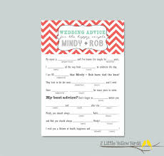wedding advice cards wedding advice card mad libs chevron
