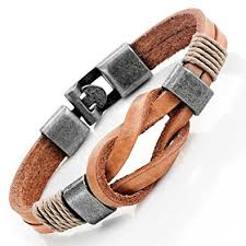 leather bracelet clasps images Tan leather nautical knot bracelet for him and her jpg