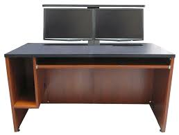 Dual Monitor Computer Desks Ds 6030 Computer Desk With Dual Monitor Lift Exact Furniture