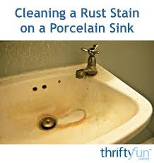 how to remove rust stains from porcelain sink cleaning a rust stain on a porcelain sink thriftyfun