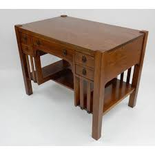Arts And Crafts Writing Desk Antique Mission Arts U0026 Crafts Oak Library Desk 38