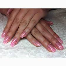 sporting for the first time a full set of gel nails pink builder