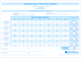 Free Timesheet Template Excel Free Monthly Timesheet Template Clicktime