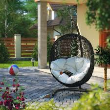furniture wooden patio deck with double hanging egg chairs made