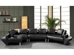 Black Leather Sectional Sofas Curved Sectional Sofa In Black Leather Home Decorations Insight