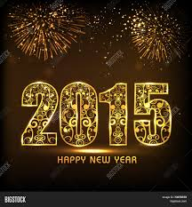 Happy New Year Board Decoration by Floral Design Decorated Golden Text 2015 On Fireworks Decorated