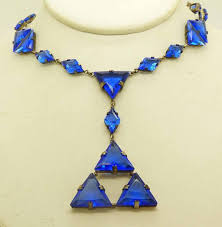 blue glass necklace vintage images Art deco cobalt blue czech glass geometric necklace jpg