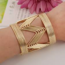 ladies gold bracelet bangle images Punk women ladies gold silver hollow open wide bangle cuff jpg